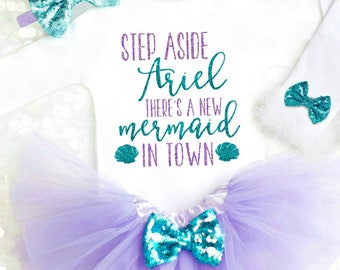 Mermaid Baby Girl Clothes Mermaid Baby Outfit Little Mermaid Outfit Step Aside Ariel Mermaid Baby Shower Mermaid Shirt Mermaid Party k7