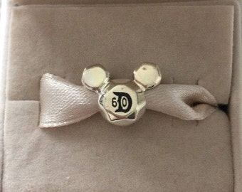 Disney 60th ANNIVERSARY MICKEY MOUSE D60 Charm / New / Sterling Silver s925 / Fully Stamped