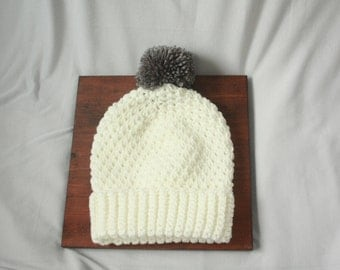 White Handmade Crocheted Pompom Beanie Hat