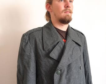 70s 80s Swiss Army Military Overcoat Switzerland Grey Wool Double Breasted Coat large xlarge