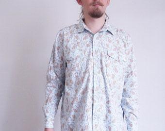Mistral Vintage shirt 80s 90s Paisley print light Blue Shirt Long sleeve Prairie Cowboy Provencal Hipster shirt French shirt xlarge size
