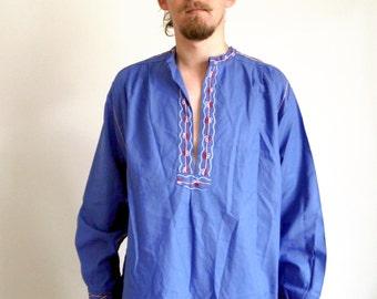 Vintage Folk Shirt Men Shirt Embroidered Shirt Long sleeve Festival Ethnic Boho Cosplay Larp Plus size