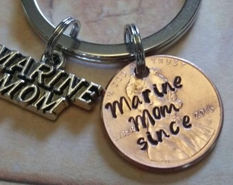 Marine Mom Charm and Hand Stamped Lucky Penny Key Chain, Marine, Penny, Keychain, Unique Gift, best seller, gifts for mom, Custom Penny