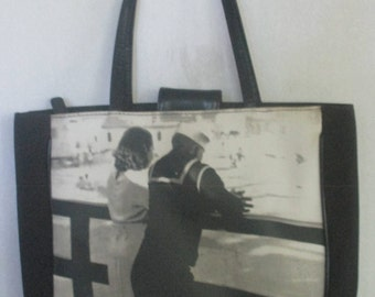 "Photo Handbag / Purse  / Black and Gray  With Vintage Photo on Front / Sailor on Shore Leave With Girl on Pier / from "" LIFE /  Gift for Her"