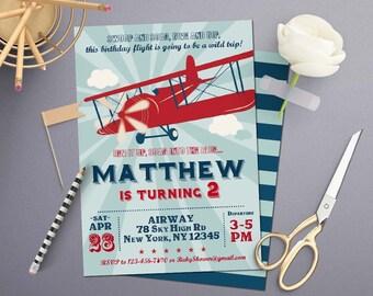 Self-Editing Vintage Airplane Birthday Invitation-Airplane Party Invite-Printable Airplane Birthday Invite-First Birthday-Any Age-105_5x7