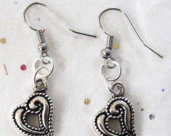 Contemporary Valentine Heart Dangles - Silverplated Heart Dangle Earrings - Heart Awareness Gift - Romantic February Jewelry