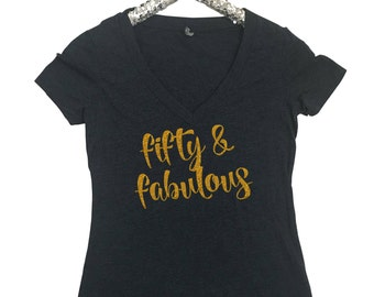 Fifty & Fabulous Women's T Shirt Happy Birthday Shirt Birthday Shirt 50th Birthday Shirt Wine Pop Fizz Clink Shirt North 2 South Designs