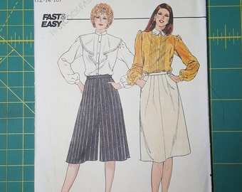 1980s Vintage Sewing Pattern, Butterick 4554, Uncut, Size 12-14-16, Misses A-Line Skirt and Culottes, Split Skirt, Breeches, Trousers