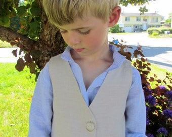 Cream Linen Vest Boys -  Burlap Wedding Outfit - Beige Boys Vest - Baby Vest - Boys Beige Waistcoat - Cream Waistcoat- Boys Formal Wear