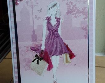Greeting Card Lady Shopping