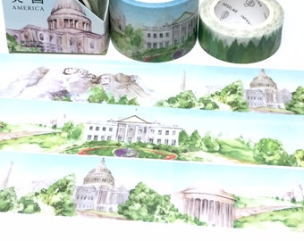 Best American US Landmark washi tape 5M mount rushmore Washington, D.C. The White House World  landscape travel planner sticker wide tape