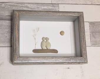 Pebble Art Couple ~ unique retirement gift, anniversary gift, wedding gift, engagement gift, bridal shower gift, housewarming gift, original