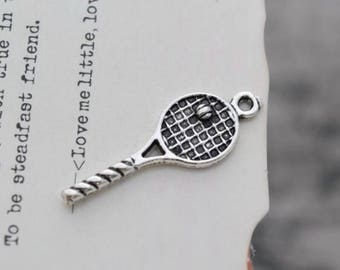 10 antique silver tennis racket charms charm tennis racquet pendant pendants   (HJ04)