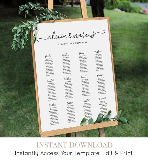 Wedding Seating Chart, Printable Seating Plan Poster, Table Arrangement, Editable Template, Modern Calligraphy, Instant Download #030-219SC