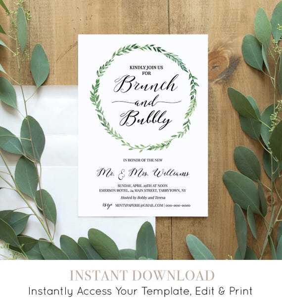 Brunch & Bubbly Invitation Template, Printable Post Wedding Brunch Invite, Instant Download, 100% Editable Template, Digital, DIY #026-105WB