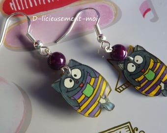 Sterling silver earrings 925 kawaii purple striped overall yellow plastic cat crazy mad and purple miracle bead