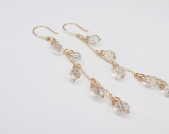 Gold Chandelier Earring Champagne Crystal Tear Drop #637