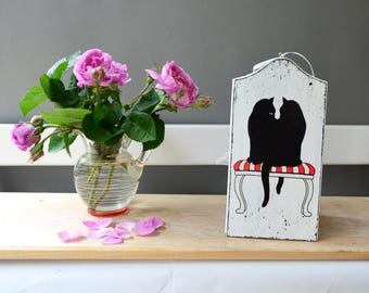 Black cat wood card, love custom card, save the date wooden card personalized birthday card bridal shower wedding gift anniversary thank you