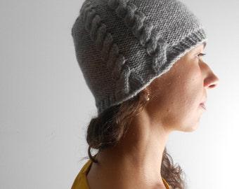 Grey knit hat beanie, Hand knit cap, Women hat, Wool hat, Winter hat, cable knit hat