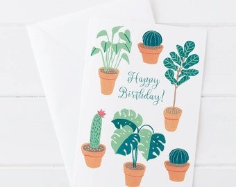 Green Friends Houseplant Birthday Card Plant Lady Cactus Monstera 5x7