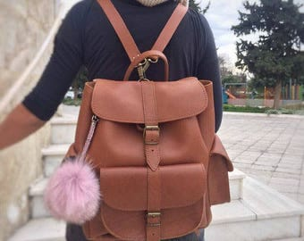 Brown Leather Backpack Women, Leather Rucksack, Everyday Bag, Made in Greece from Full Grain Leather, LARGE.