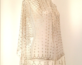 1920s white Assuit shawl scarf Egyptian Revival Art Deco antique vintage