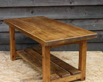 Rustic wood coffee - handmade from reclaimed timber. Ready for immediate dispatch.
