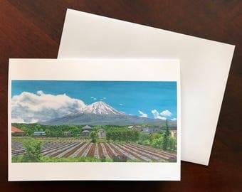 Fine Art Print Greeting Card - Fields and Fuji