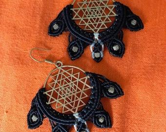 Sri Yantra Macrame Earrings, sacred geometry