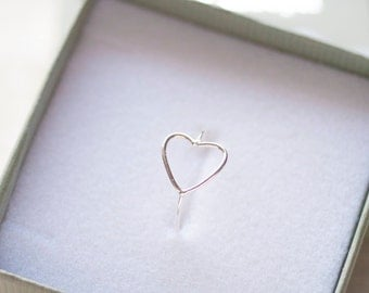 Heart Ring, Sterling silver Ring, Stacking Ring, Midi Ring, Girlfriend Gift