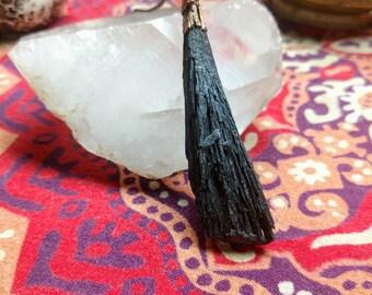 Black Kynite and Copper Pendant