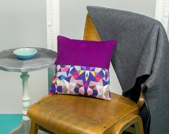 12 inch Pink Geometric Print Cushion