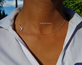 Sideways necklace bird, Dove necklace, flying bird necklace, swallow necklace, dainty bird necklace,bird choker necklace,sideways charm bird