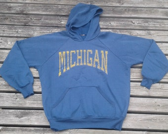 Vintage 80's / 90's University of Michigan Hooded Sweatshirt Grungy Distressed