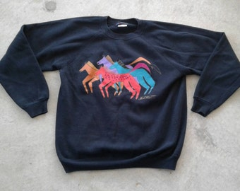 "Vintage 80's Laurel Burch ""Elk Canyon Mares"" Sweater Crewneck Sweatshirt Made in USA large"