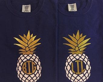 Big Little Comfort Color Shirt, Pineapple Shirt, Big Little Sorority, Monogram