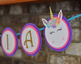Unicorn Banner - Unicorn Birthday Banner - Unicorn Theme - Unicorn Party - Unicorn Decorations - Unicorn Name - ONE Highchair Banner