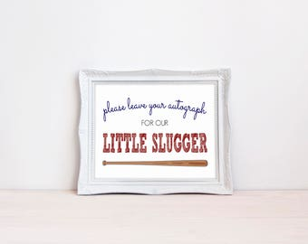 """Leave Your Autograph 8""""x10"""" Baseball Baby Shower Decorations 