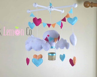 baby mobile, hot air balloon mobile, cloud baby mobile, pink baby mobile