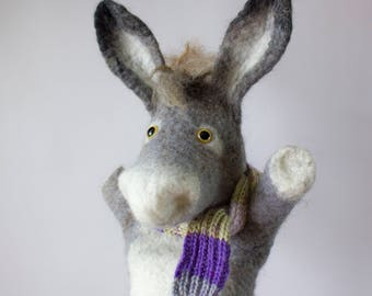Donkey, wet felted, animal hand puppet. MADE TO ORDER