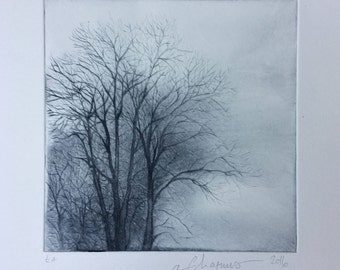 Original print of trees in winter. Dry point etching