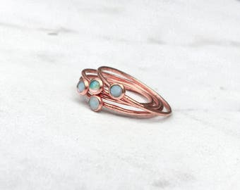 Opal Stacking Ring, Rose Gold Tiny Opal Ring, Stackable Ring, October Birthstone Ring, Genuine Opal Ring, Gold Opal Ring, White Opal Ring
