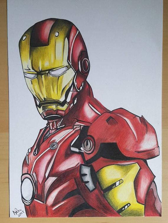 ORIGINAL DRAWING Ironman prismacolor pencil drawing superhero