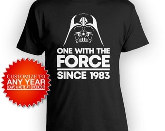 35th Birthday Gifts For Him Nerd T Shirt Geek Clothing Custom Year Bday Present One With The Force Since 1983 Birthday Mens Tee - BG555