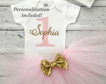First Birthday Outfit Girl, Birthday Tutu Outfit, 1st Birthday, Pink and Gold Tutu Outfit, Personalized First Birthday Outfit