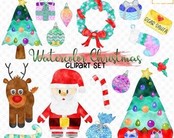 Watercolor Christmas Clipart, Christmas Clip Art Set, Xmas Graphics, Commercial Use, Holiday Clip Art, Santa, Rudolf, Handdrawn PNG Clipart