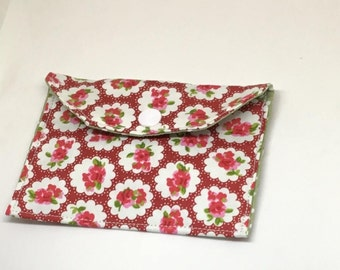 Floral Pouch, pill pouch,  card wallet, fabric case wallet, small wallet, money wallet, business card wallet, gift for her, ready to ship