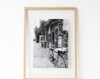 Paris, France, Travel,  Flowers, Bicycle, Black and White, Black Friday, Photography,  Digital Download, Prints, Monochrome,