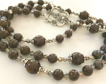 Brown Jasper Rosary, Gemstone Rosary, Dark Brown Rosary, Semi-Precious Rosary Beads, Catholic Rosary Beads, 5 Decade Rosary