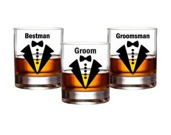 Groom wedding party Decals - Bow Tie Groomsman Decals - Beer Whiskey Glass Groom Decal - Bachelor Party Decal - Best Man Gift - Groomsmen